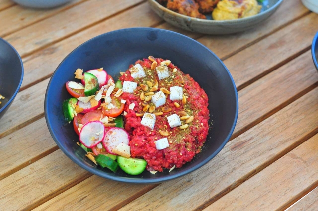 Beetroot Risotto with Fattoush Salad