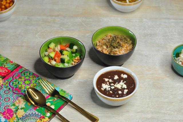 Black beans beans with bulgur wheat n salad
