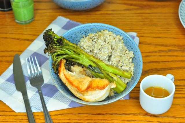 Grilled chicken and broccoli with coconut quinoa
