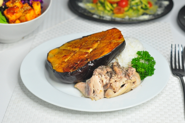 Coconut cream chicken with side of Miso eggplant